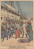 A battalion of Algerian tirailleurs disembarking from a ship in Casablanca, Morocco
