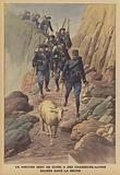 A sheep guiding a platoon of French Chasseurs Alpins lost in fog in the Alps