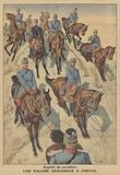 French cavalrymen descending a cliff on horseback