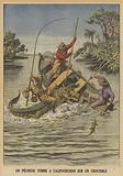 A fisherman falling astride a crocodile after it capsized his boat