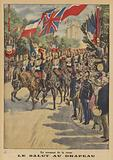 Saluting the flag on a parade during the visit of King George V and Queen Mary to Paris