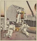 Marins japonais canonnant la flotte chinoise au Yalou