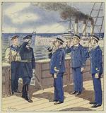 Visite d'un navire de commerce par un officier russe