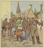 Soldats de l'armee de la Loire lisant l'affaire de la capitulation de Metz