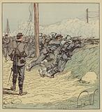 Combat d'Artenay, Le 8e bataillon de chasseurs de marche deploye le long du talus du chemin …