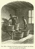 Lavage du kaolin, pour en separer par decantation les grains de feldspath