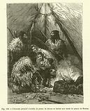 L'homme primitif s'habille de peaux de Renne et habite une tente en peaux de Renne