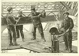 Les Travaux de l'Exposition, Un poste de riveurs au chantier de la tour Eiffel