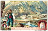 Miners and mine buildings at the Monte Rosa gold mines, Italy