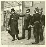 Arrest of a politician for defending the rights of citizens of Alsace-Lorraine by German police at Colmar
