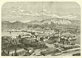 Vue generale de Geneve, prise de la gare du chemin de fer de Lyon a Geneve