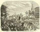 Manifestation populaire a New-York, a l'occasion de l'achevement du telegraphe Transatlantique