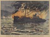 Fire on board the steamer Guadalquivir in Salonika harbour, Greece