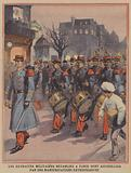 French Army band marching in Paris to an enthusiatic reception
