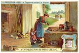 Peasant woman lighting a fire by striking sparks off a stone