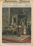 La solenne seduta inaugurale dell'Accademia d'Italia, nella sala degli Orazi e Curiazi, in Campidoglio