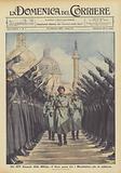 Nel XIV Annuale della Milizia, il Duce passa tra i Moschettieri che lo salutano