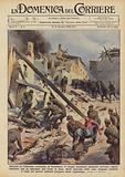 Durante la vittoriosa avanzata in Catalogna, le truppe nazionali spagnole trovano i paesi …
