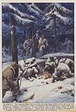 Arrendetevi! Una pattuglia finlandese accerchia di notte cinque Russi attorno ad un piccolo braciere, in un bosco.