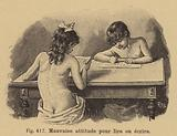 Poor posture for reading and writing