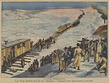 The Russo-Japanese War: the first trains carrying Russian reinforcements crossing the frozen Lake Baikal