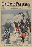 French troops of the 157th Infantry Regiment finding three Italian soldiers lost in the snow in the Alps