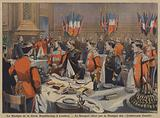 The band of the French Republican Guard attending a banquet hosted by the band of the Coldstream Guards in London