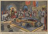 Emperor Menelik II of Ethiopia before the coffin of his general, Ras Makonnen