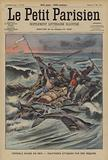 Survivors of a shipwreck on a raft being attacked by sharks