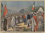 A rebel tribe surrendering to French General Hubert Lyautey and handing over stolen weapons in Morocco