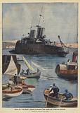 The Italian cruiser San Giorgio aground in the Straits of Messina