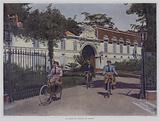 Cyclists riding out from the Chateau de Madrid in the Bois de Boulogne, Paris