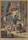 A man fighting off a vulture