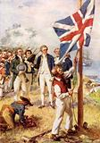 Captain Cook hoisting the British Flag in Australia