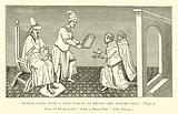 Kublai Khan gives a gold tablet to Nicolo and Maffeo Polo