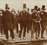 Isambard Kingdom Brunel, watching work on an early steamboat, c 1856