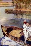Walter Greenway, from his motor boat on the river Tigris, sees the sun rise on Bagdad