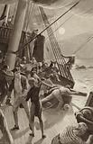 Captain James Cook's ship in trouble off Cape Tribulation