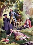 """""""Dead, dead!"""" said Patience, """"And there is the murderer!"""". Illustration for Mauprat by George Sand"""