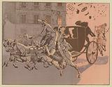 Napoleon has a miraculous escape from the explosion of a bomb, the machine infernale, on the Rue Saint-Nicaise, Paris, …
