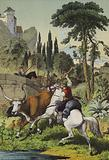 Mounted shepherds in Italy pursuing a Steppes Bull in a landscape with Wild Chestnut, Cluster Pine and Italian Poplar trees