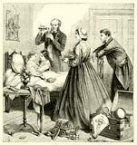 Doctor preparing medicine for a sick boy