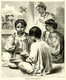 Hawaiian Children Eating Poi