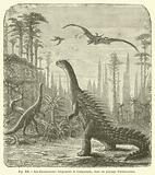 Les dinosauriens, Stegosaure et Compsonote, dans un paysage d'araucariees