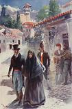 Two or three young men escorted Orso and his sister to the door