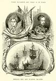 Queen Elizabeth and Philip II of Spain, English Ship and Spanish Galleon
