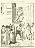 Statue de Pasquin, a Rome, Italiens jouant a la morra