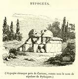 Hypogee etrusque pres de Cortone, connu sous le nom de sepulcre de Pythagore