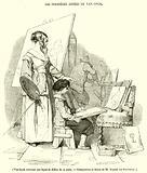 Van-Dyck recevant une lecon de dessin de sa mere