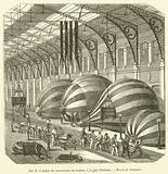 Atelier de construction des ballons, a la gare d'Orleans